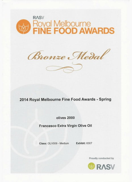 Royal Melbourne fine foods award bronze