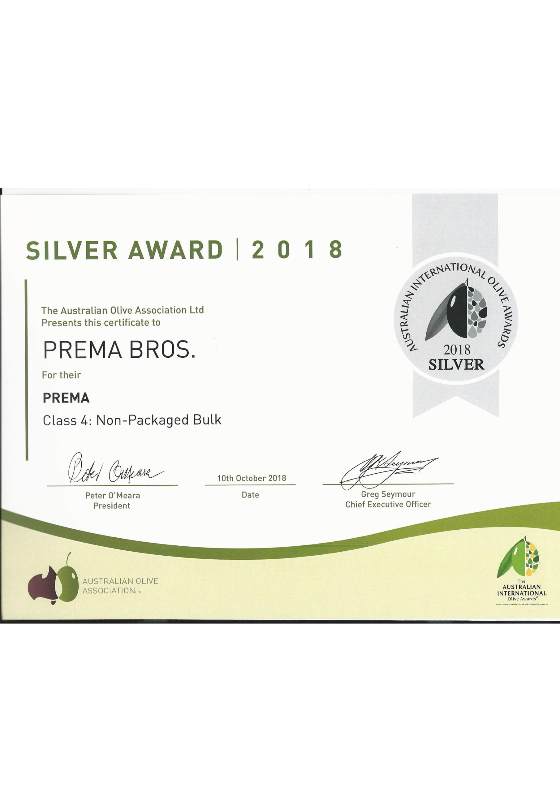 Silver award extra virgin olive oil