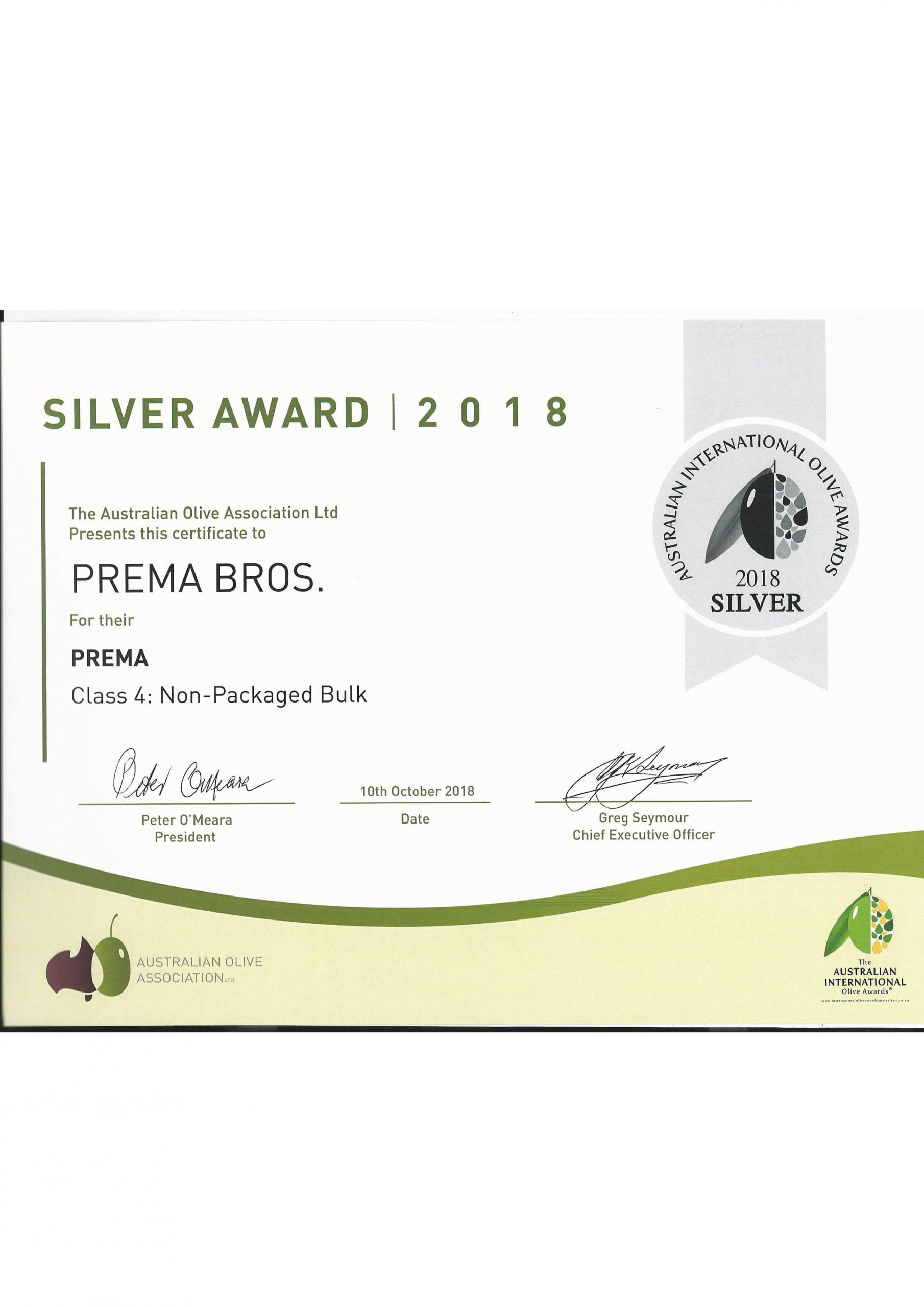 Silver award for Non packaged Olive Oil