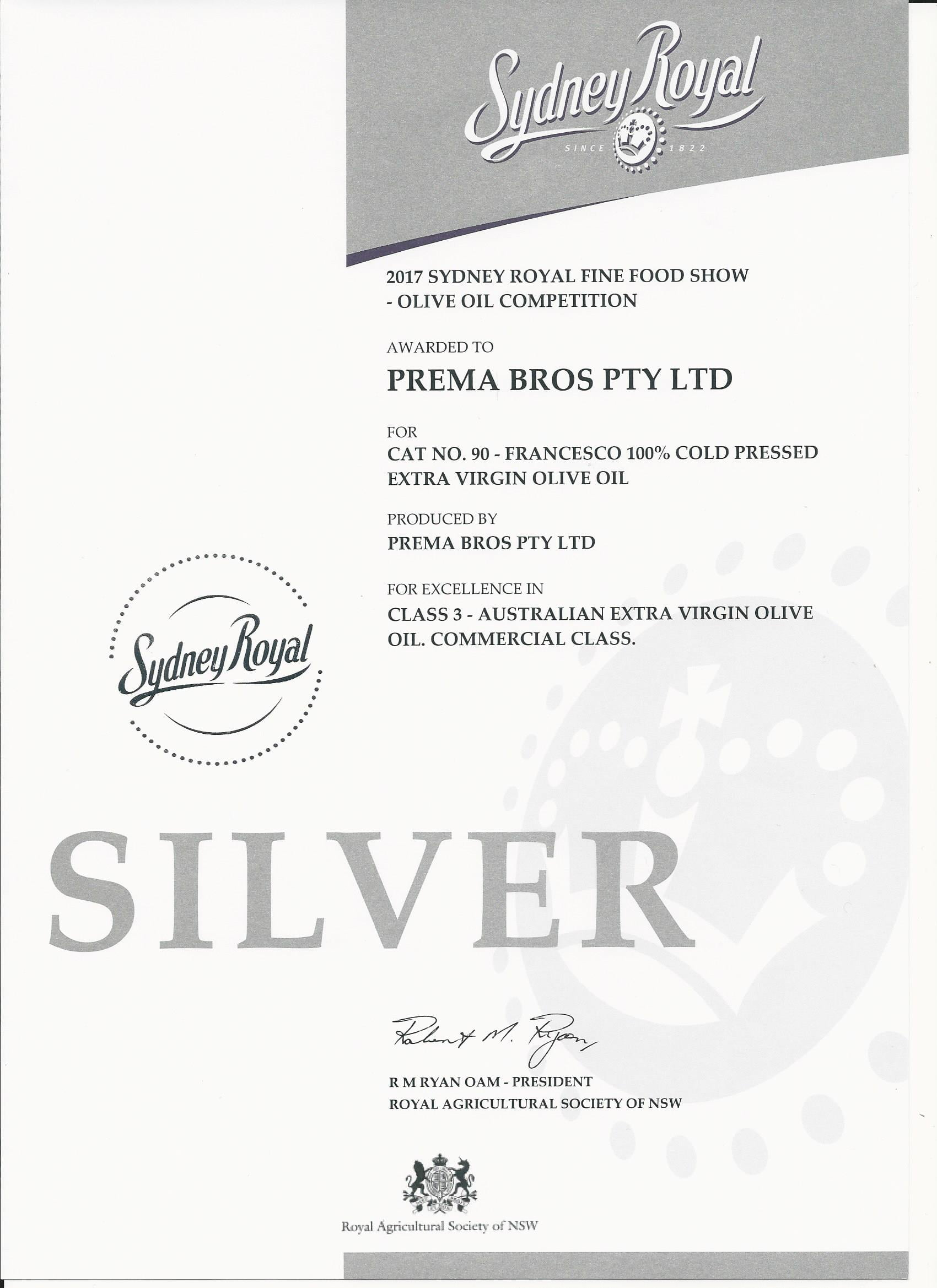 Sydney Royal Silver award for Olive Oil