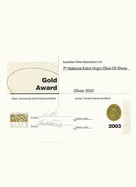 Gold award extra virgin olive oil