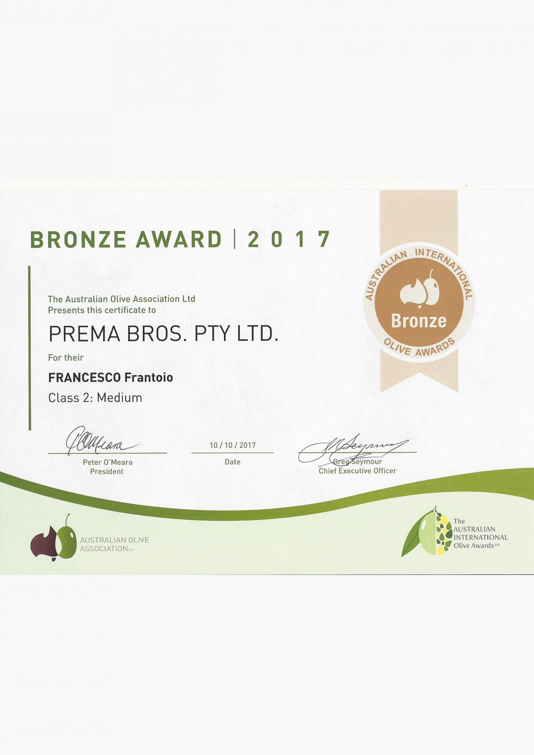 Bronze award Australian International Olive Awards