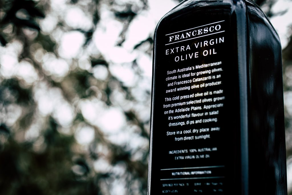 Close up of Francesco olive oil bottle