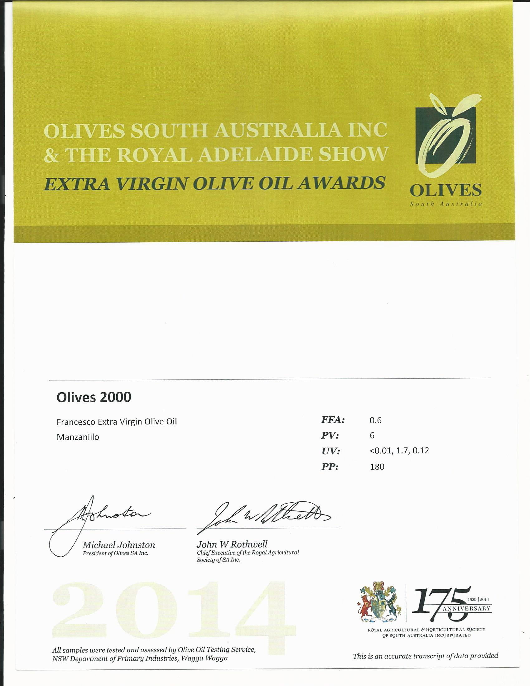 Extra Virgin Olive oil award