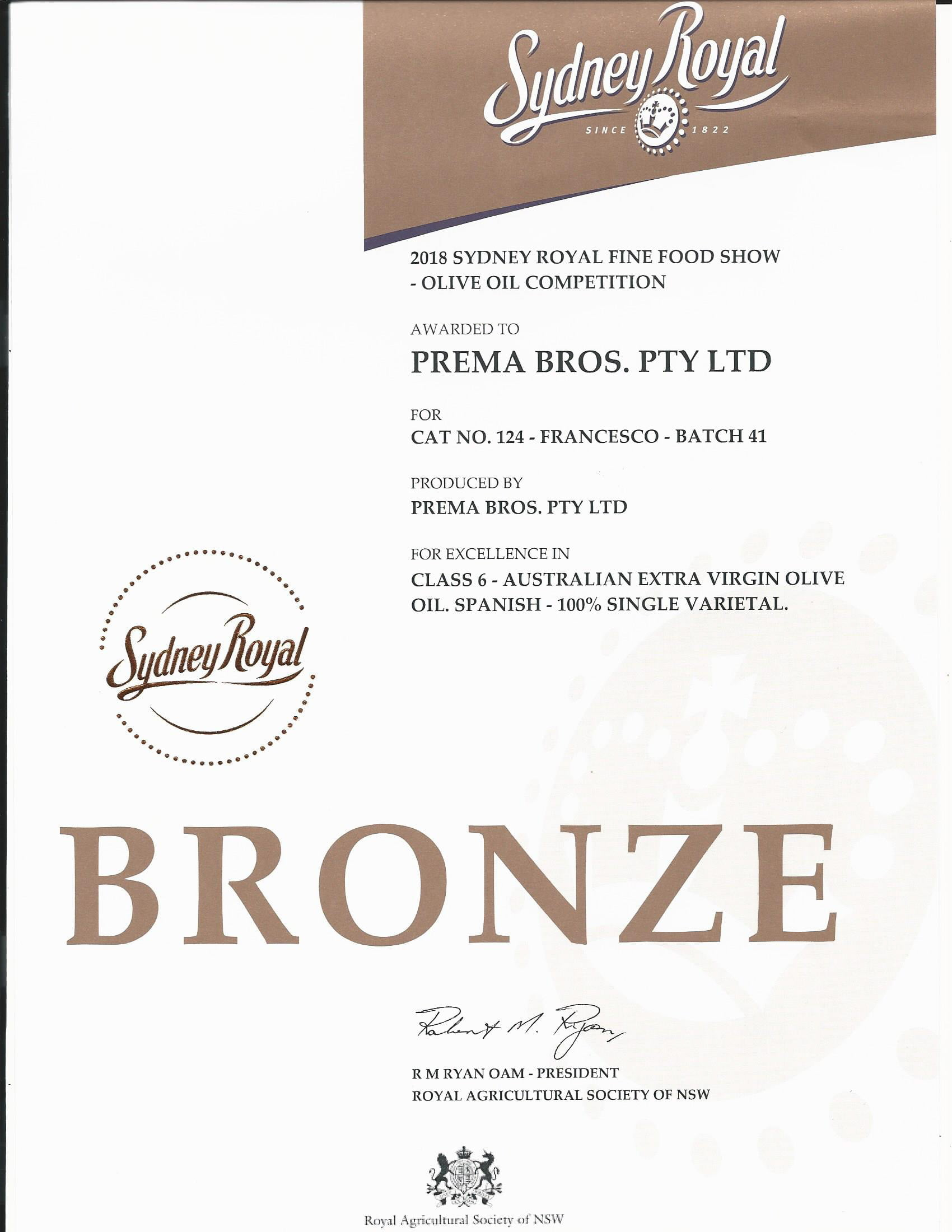 Extra virgin olive oil bronze award